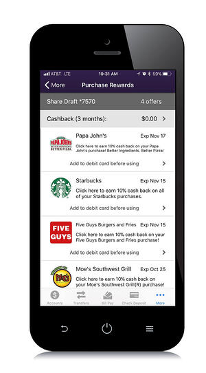 Phone with purchase rewards on screen
