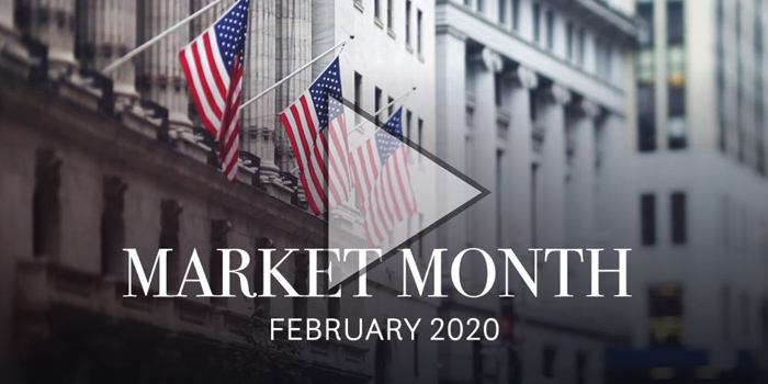 Market Month February 2020 with the American flag in the background